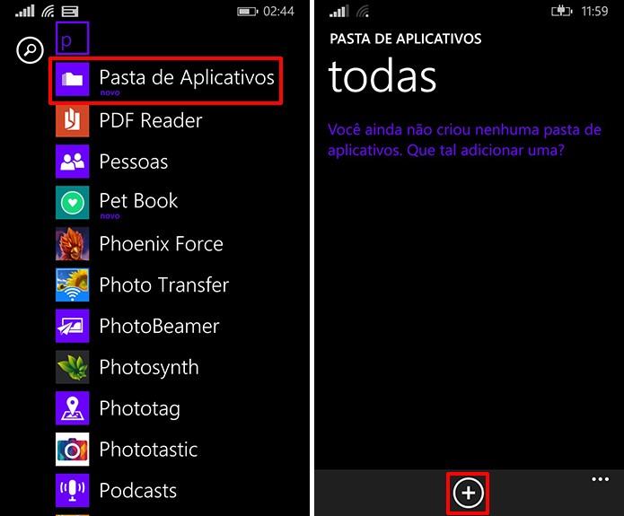 Pasta de Aplicativos oferece a opção de agrupar app no Windows Phone 8 ou 8.1 sem a última atualização (Foto: Reprodução/Elson de Souza)