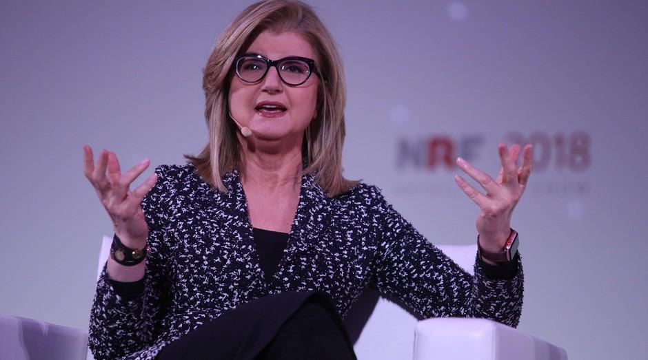 A empresária Arianna Huffington durante sua apresentação no Jacobs Javits Center, em Nova York (Foto: Divulgação)