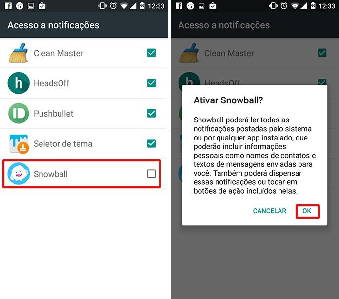 Snowball poderá acessar notificações do usuário após confirmação (Foto: Reprodução/Elson de Souza)