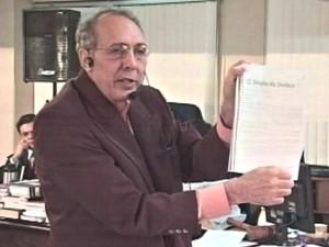 Hildebrando Pascoal durante julgamento em 2009, em Rio Branco (Foto: Reprodução/Rede Amazônica Acre)