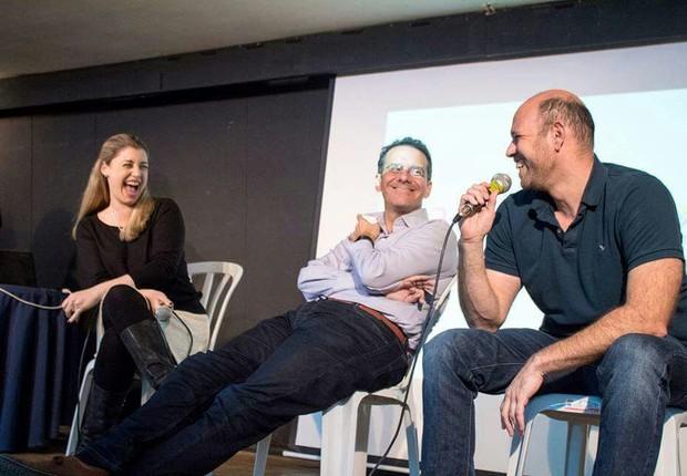 Luna Froumine (Amdocs), Marcelo Treistman (Wix) e Michel Abadi (Maverick) (Foto: Miriam Sanger)