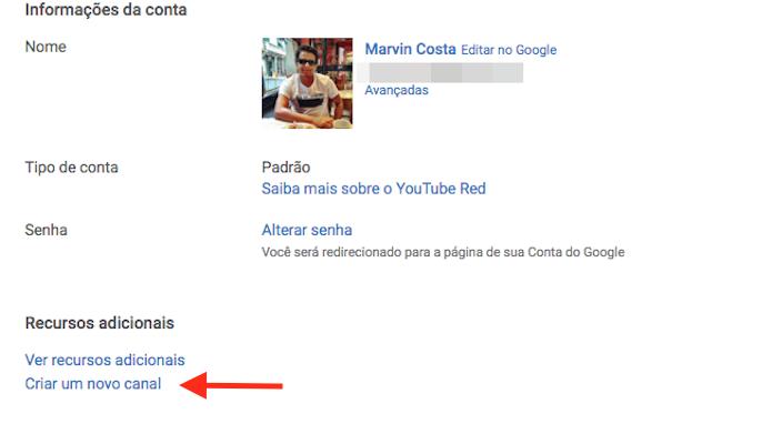 Acessando a função para criar um segundo canal no YouTube (Foto: Reprodução/Marvin Costa)