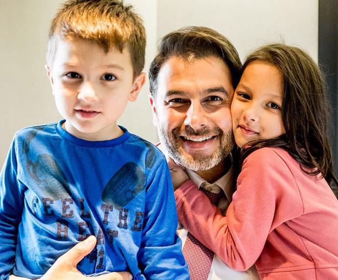 Dr. Fernando com o caçula Frederico e a Lara  (Foto: Arquivo pessoal)