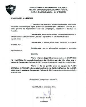 RN - resolução mudança jogos Santa Cruz de Natal x América-RN  / Baraúnas x América-RN Campeonato Potiguar (Foto: Reprodução)