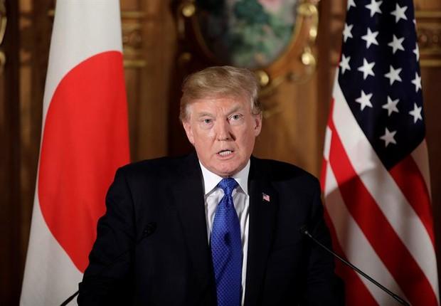 O presidente norte-americano Donald Trump discursa em sua visita ao Japão (Foto: Kiyoshi Ota/EFE)