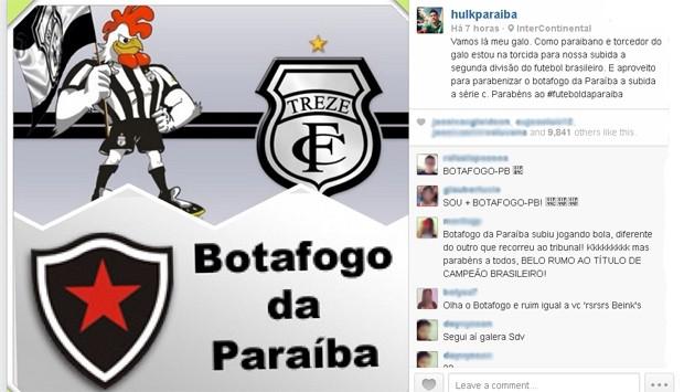 Hulk parabeniza Treze e Botafogo-PB pela campanha no Brasileirão (Foto: Reprodução / Instagram)