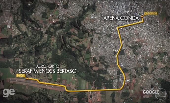 Percurso aeroporto Arena Condá Chapecoense (Foto: Reprodução)