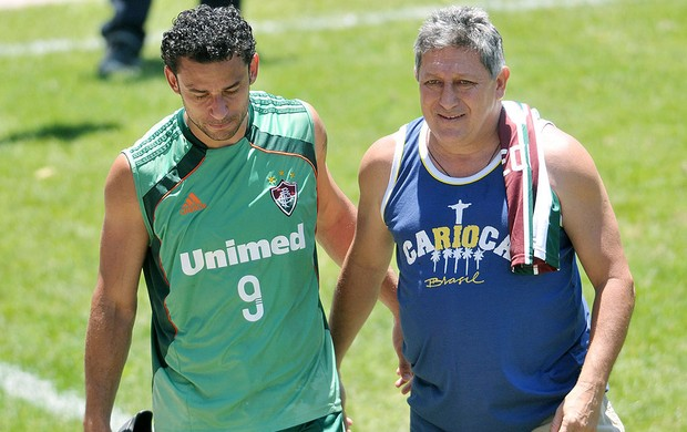 Fred e Romerito no treino do Fluminense (Foto: Dhavid Normando / Photocamera)