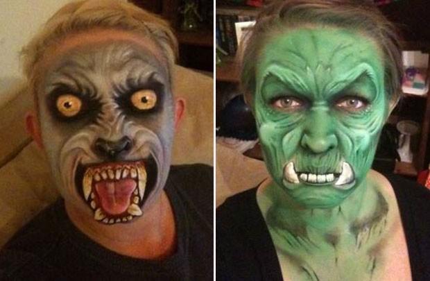 Reino unido artista cria rostos assustadores usando - Pintura cara halloween ...
