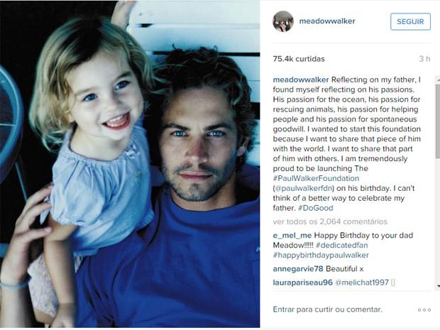 Meadow Walker publicou homenagem ao pai (Foto: Reprodução/Instagram/Meadow Walker)