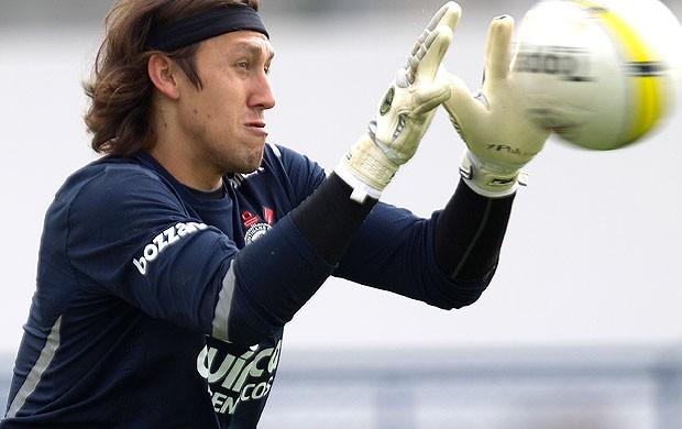 Cássio, goleiro do Corinthians, no treino (Foto: Ag. Estado)