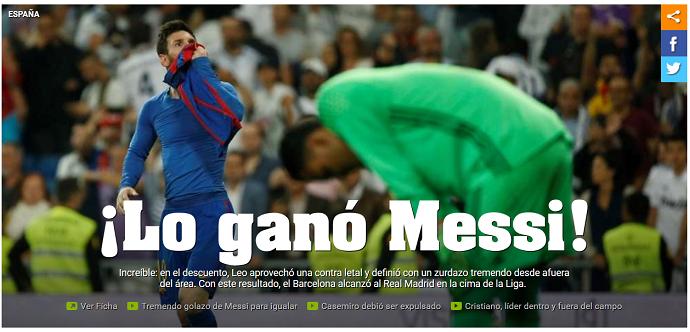 BLOG: Sites da Espanha e Argentina exaltam Messi após vitória no Bernabéu