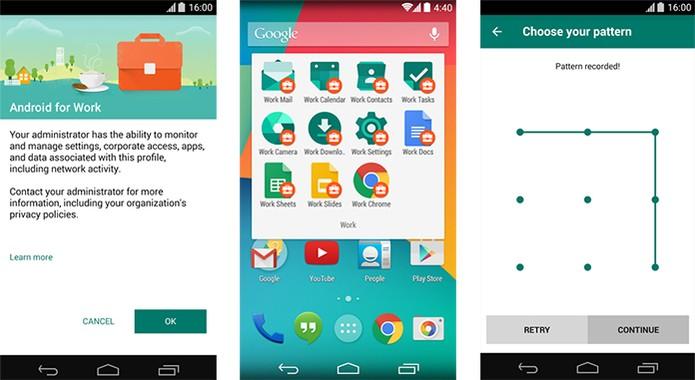 Aplicativo Android form Wok separa assuntos profissionais no dispositivo (Foto: Divulgação/Google)