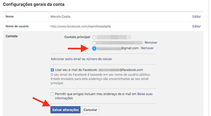 Definindo como principal o novo e-mail adicionado a uma conta do Facebook (Foto: Reprodução/Marvin Costa) (Foto: Definindo como principal o novo e-mail adicionado a uma conta do Facebook (Foto: Reprodução/Marvin Costa))