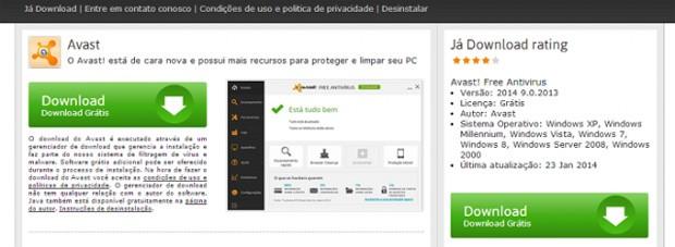 Página falsa de download do antivírus Avast em site que colocava vírus em arquivos (Foto: Reprodução/Kaspersky)