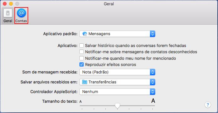Acessando guia Contas nas preferências do iMessage (Foto: Reprodução/Edivaldo Brito)
