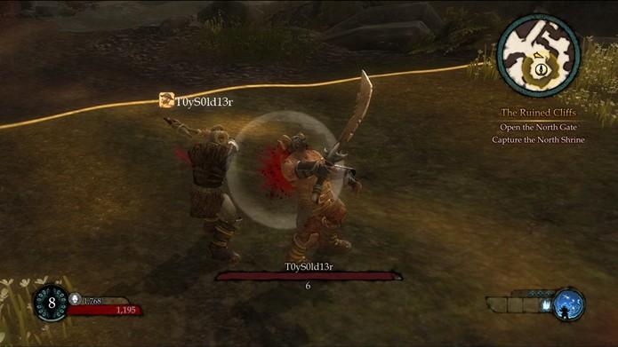 Os combates multiplayer do game se limitam a rápidos combates contra Caos de outros jogadores (Foto: Reprodução/Daniel Ribeiro)