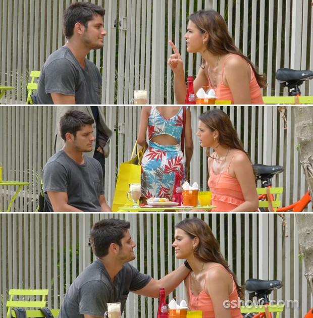 Luiza reclama com o namorado e acaba cedendo à sua lábia (Foto: Em Família/ TV Globo)