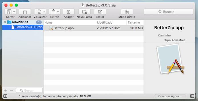 BetterZip (Foto: Reprodução/Helito Bijora)
