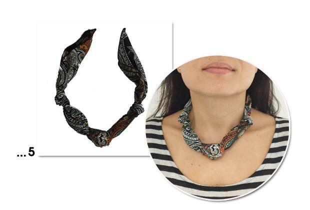 Dê um charme extra ao colar feito com lenço (Foto: Marie Claire)