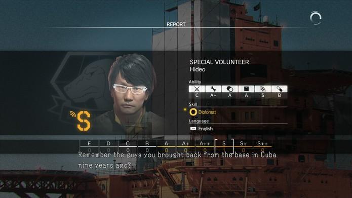 Hideo Kojima é um dos recrutas que podem ser recuperados em Ground Zeroes (Foto: Reprodução/Cássio Barbosa)