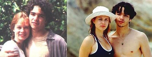Mariana com Caio em 1999, época em que viviam um casal na novela Andando nas nuvens (Foto: Reprodução)