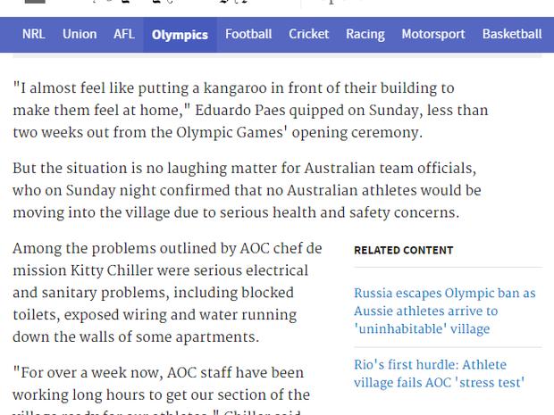 Um dos principais jornais australianos, The Sidney Morning Herald afirmou que a situação não tem graça para a equipe (Foto: Reprodução internet)