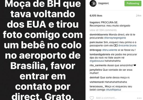 Tiago anunciou que está procurando fã que o abordou em aeroporto (Foto: Reprodução/Instagram)