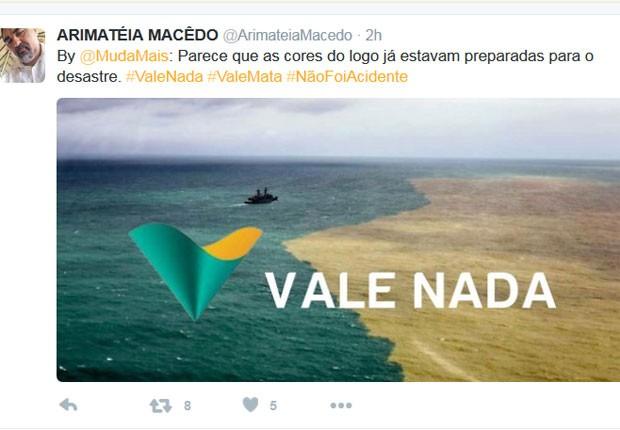 'Parece que as cores do logo já estavam preparadas para o desastre', diz tuíte que está sendo compartilhado (Foto: Reprodução/MudaMais/Twitter)