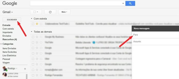 Abra um novo e-mail no Gmail (Foto: Reprodução/Rodrigo Fernandes)
