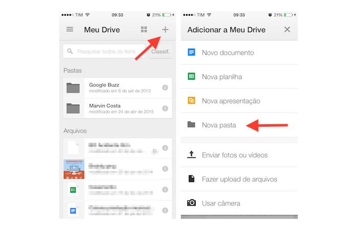 Iniciando a criação de uma pasta no Google Drive para iPhone (Foto: Reprodução/Marvin Costa)