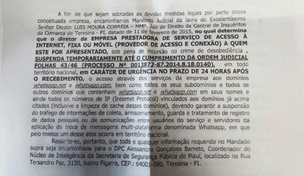 Texto do mandato que exige que se tire o Whatsapp do ar (Foto: Reprodução)