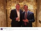 Nigel Farage, líder do Brexit, se encontra com Trump em Nova York
