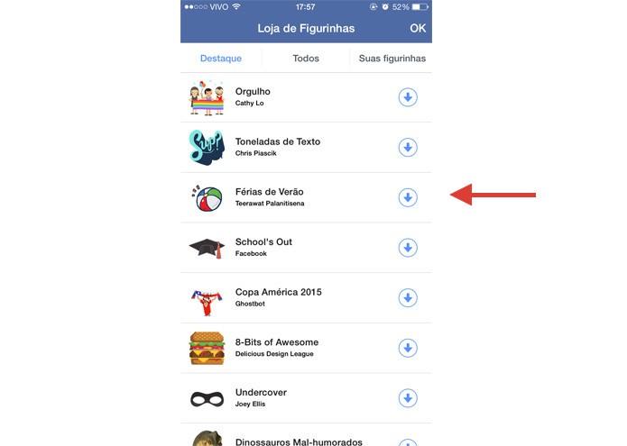 Clique nas setas azuis, como aponta a imagem, para baixar mais figurinhas para o seu Facebook (Foto: Gabriella Fiszman/ TechTudo)
