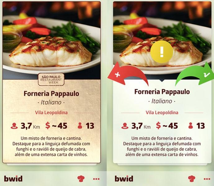 App brasileiro 'Bwid' funciona como 'Tinder de restaurantes'; clientes rejeitam restaurantes ou escolhem saber mais informações sobre eles.