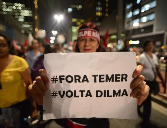 Protesto contra o presidente do Brasil, Michel Temer  em São Paulo (Foto: Cris Faga/CITIZENSIDE/Agência O Globo)
