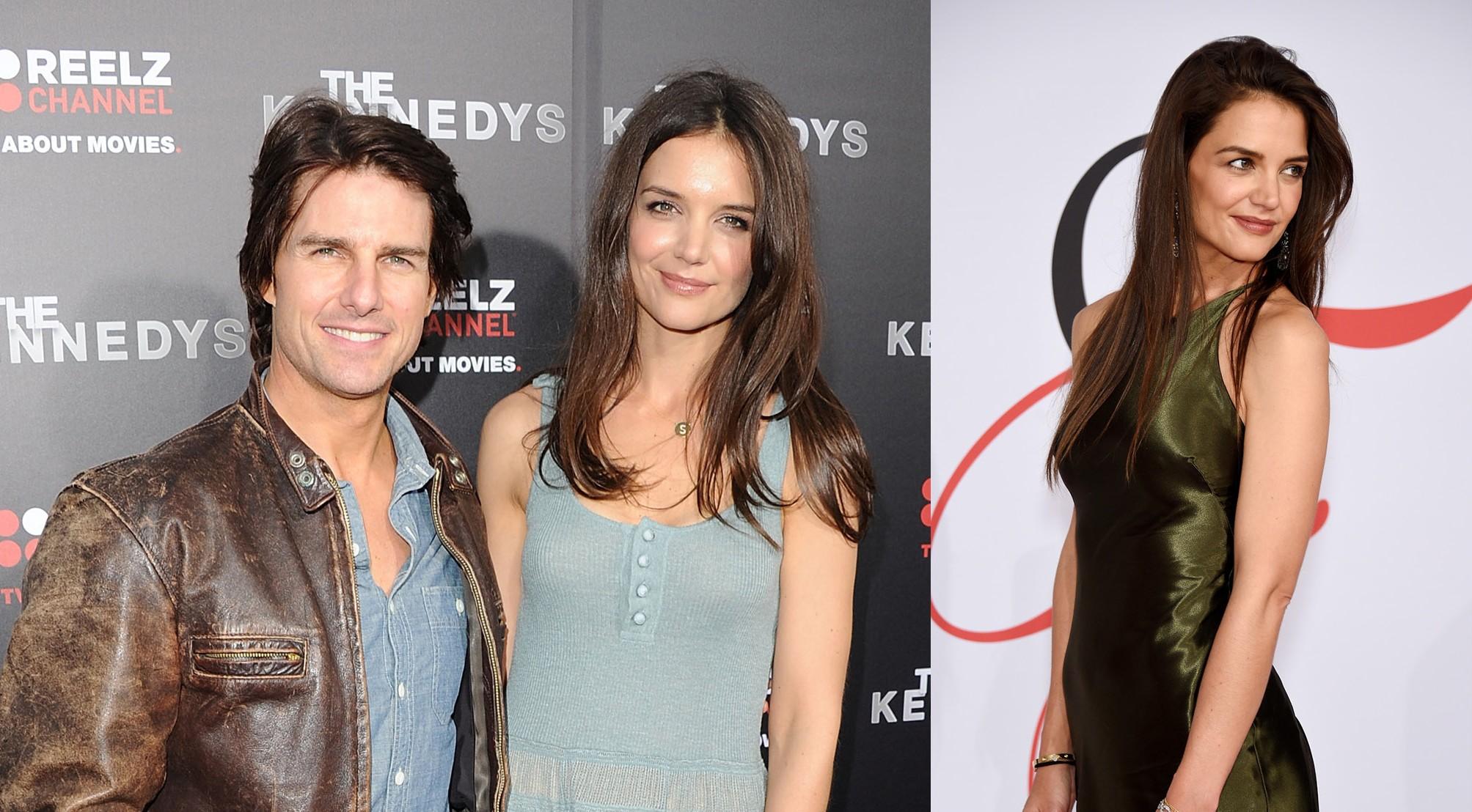 Katie Holmes e Tom Cruise em 2011 e Katie Holmes em 2015 (Foto: Getty Images)