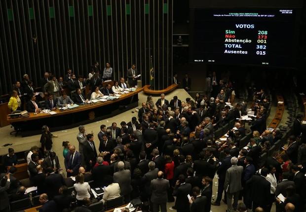 Câmara rejeita denúncia contra presidente Michel Temer.Placar soma 200 votos contra a denúncia (Foto: Agência Brasil)
