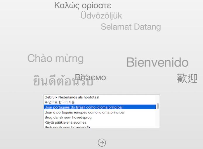 Escolha o idioma de instalação do OS X Yosemite (Foto: Reprodução/Helito Bijora)