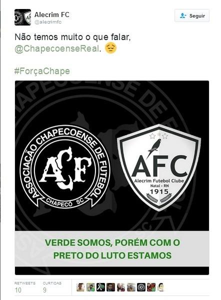 Alecrim FC - solidariedade à Chapecoense (Foto: Reprodução)