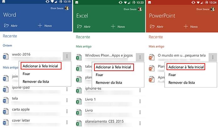 Usuário pode fixar atalhos do Office para Android na tela inicial para poupar tempo (Foto: Reprodução/Elson de Souza)