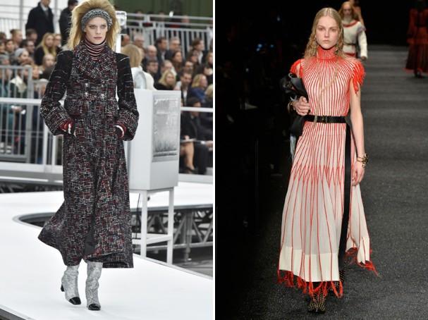 Gola Rolê nas passarelas da Chanel (esq.) e Alexander McQueen (Foto: Getty Images)