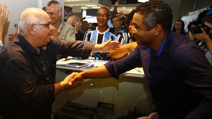 Romildo Bolzan Júnior Roger Machado Grêmio (Foto: Lucas Uebel/Grêmio)