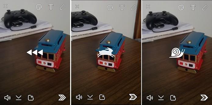 Snapchat possui filtros que podem ser ativados em vídeos para alterar velocidade (Foto: Reprodução/Elson de Souza)