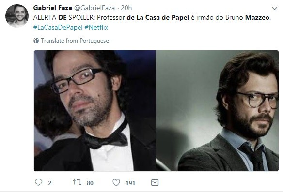 Internauta compara Bruno Mazzeo com personagem professor de 'La Casa de Papel' (Foto: Reprodução / Instagram)