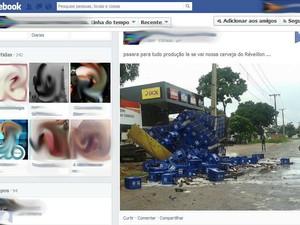 Caminhão não suportou o peso da carga e tombou em avenida de Palmas (Foto: Reprodução/Facebook)