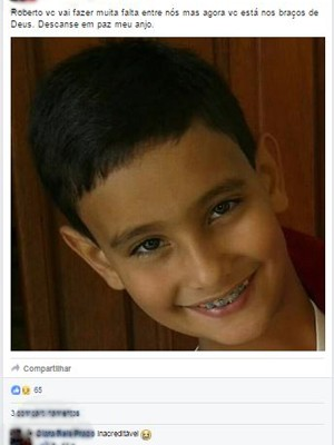 Nas redes sociais, moradores lamentam morte de menino que morreu em parque de diversões de São Gonçalo do Sapucaí, MG, Roberto Augusto Brandão Neto (Foto: Reprodução/Facebook)