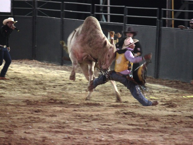 Competidor ficou ferido durante rodeio de Jaguariúna, SP (Foto: Marcelo Geovanini)