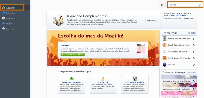 Menu de Adicionar permite encontrar loja de complementos do Firefox (Foto: Reprodução/Barbara Mannara)
