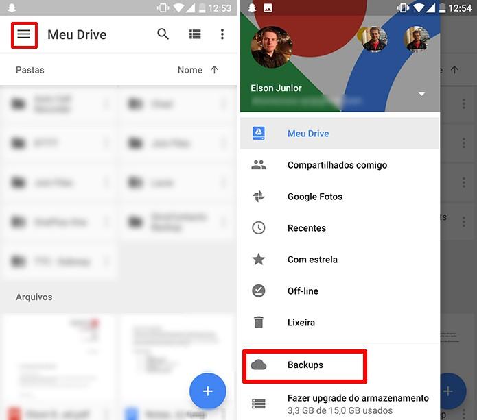 Google Drive para Android pode gerenciar backups armazenados na nuvem (Foto: Reprodução/Elson de Souza)